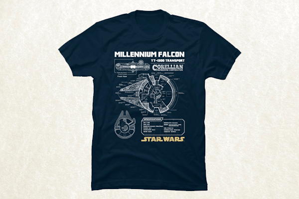 Millennium Falcon Blueprint - Star Wars T-shirt
